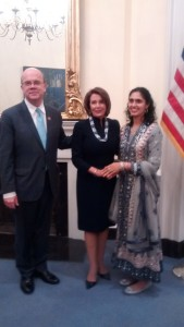 Asima Silva with Rep. McGovern and Majority Leader Nancy Pelosi